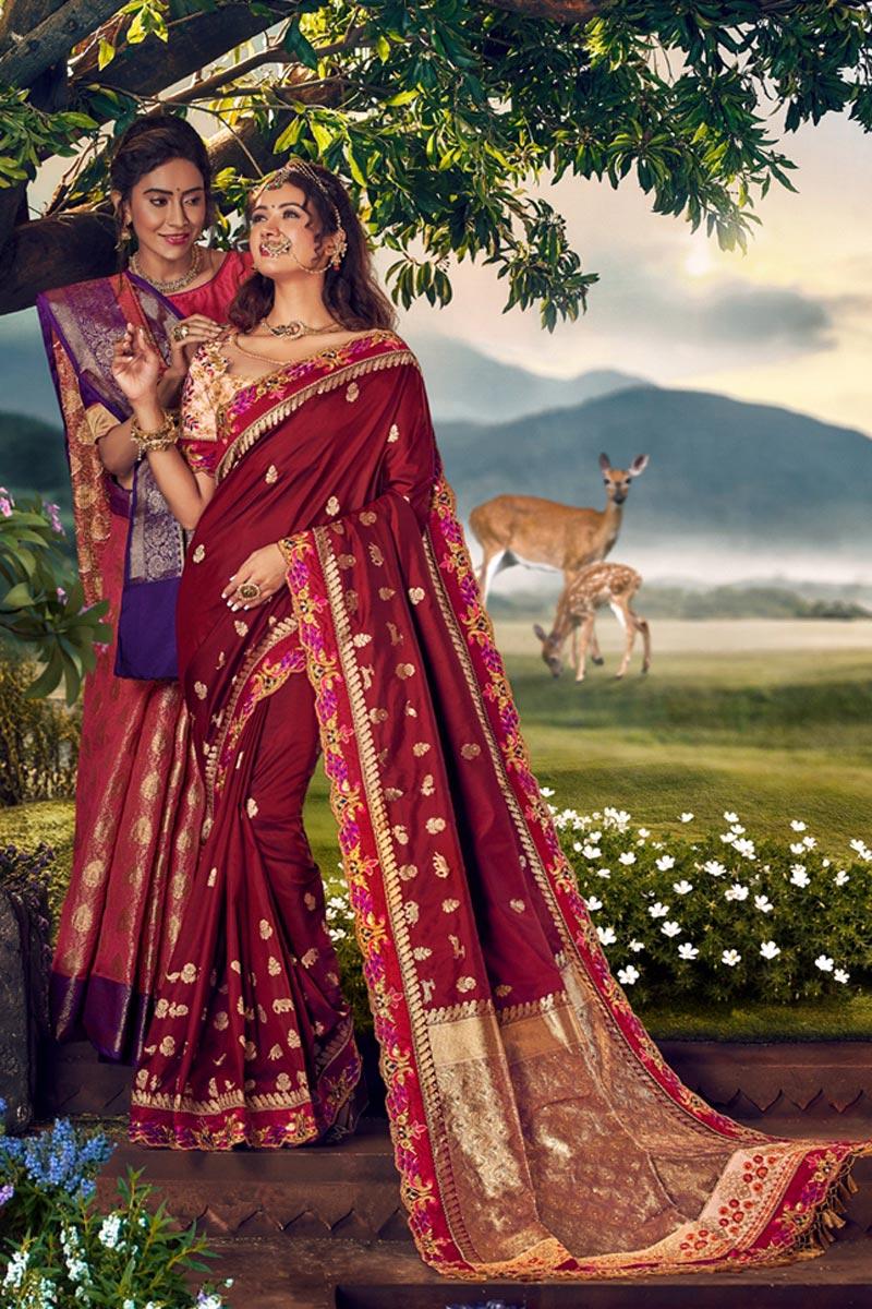 Banarasi Silk Fabric Designer Sangeet Wear Weaving Work Saree With Embroidered Blouse