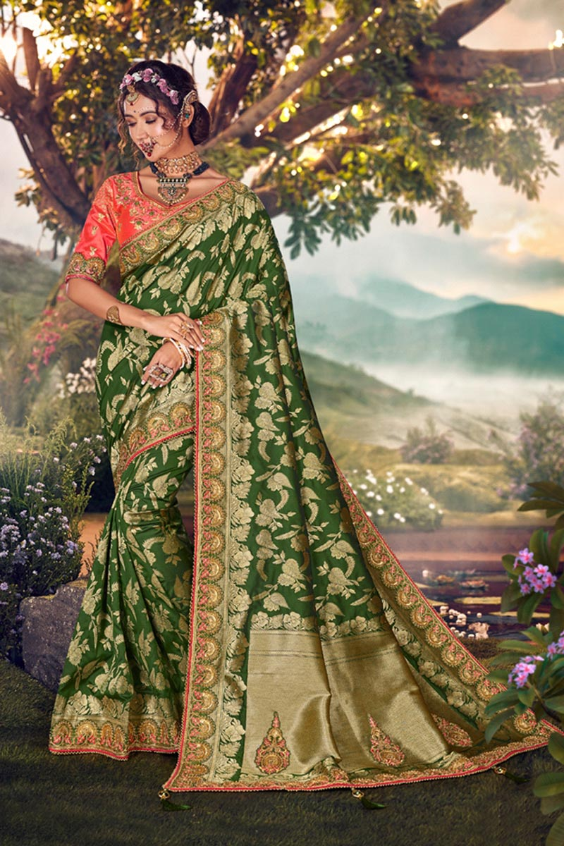 Sangeet Wear Designer Weaving Work Saree With Embroidered Blouse In Green Color