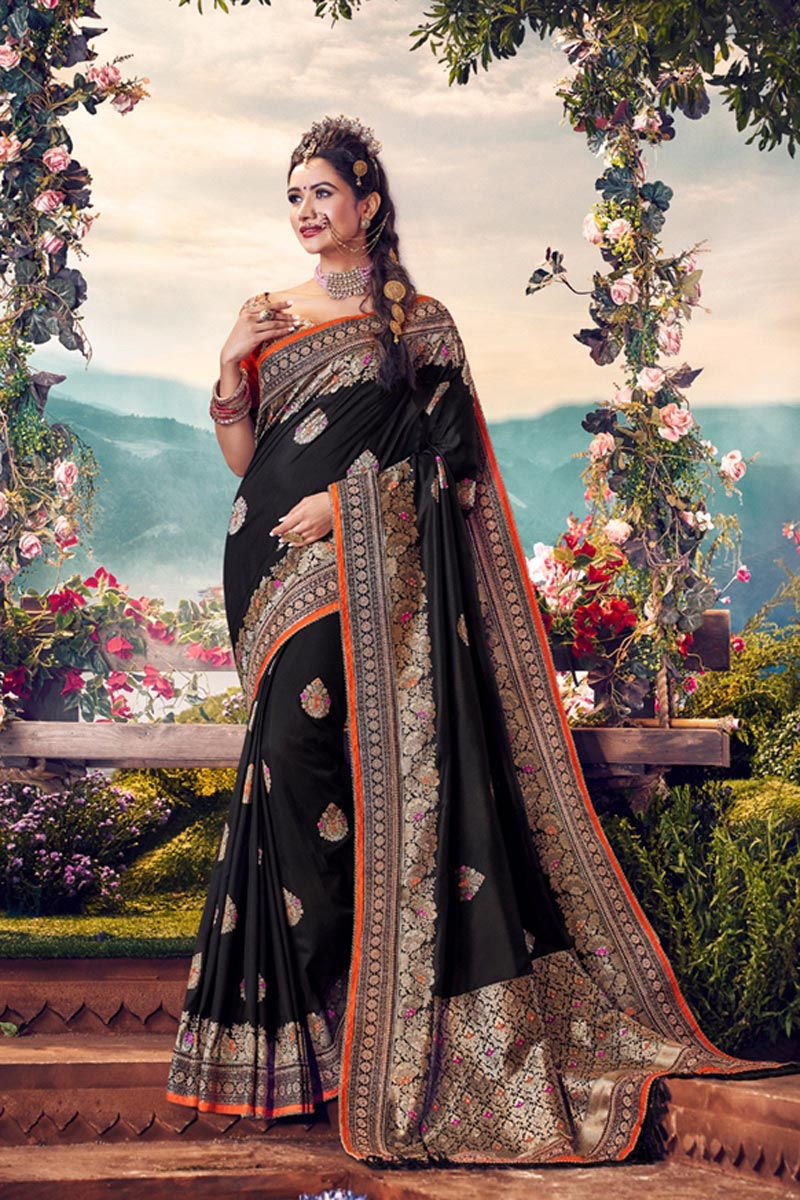 Sangeet Wear Black Color Designer Weaving Work Saree With Embroidered Blouse