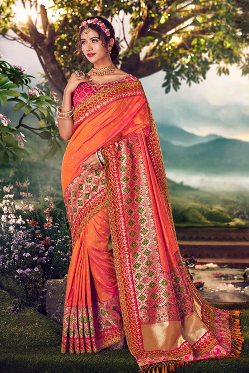Orange Color Designer Sangeet Wear Weaving Work Saree With Embroidered Blouse