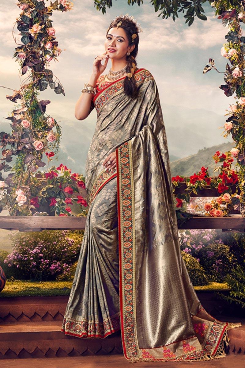 Sangeet Wear Designer Weaving Work Saree With Embroidered Blouse In Banarasi Silk Fabric