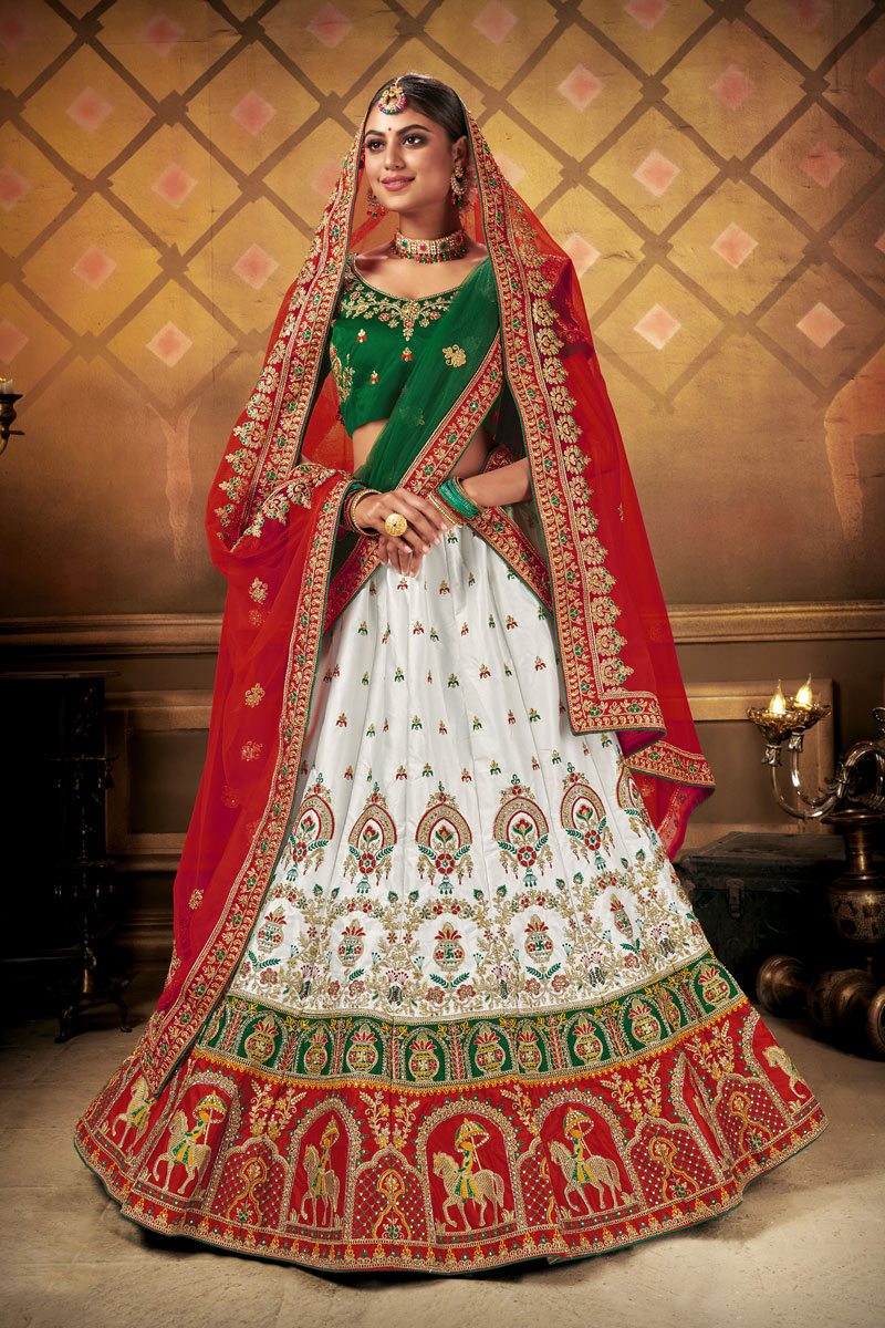 Heavy Embroidered White Color Wedding Wear Lehenga Choli
