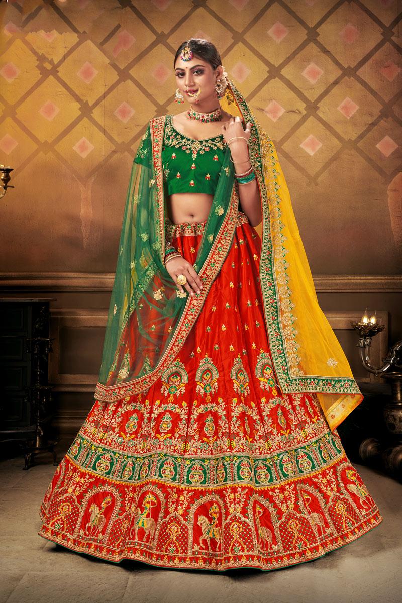 Satin Fabric Wedding Wear 3 Piece Lehenga