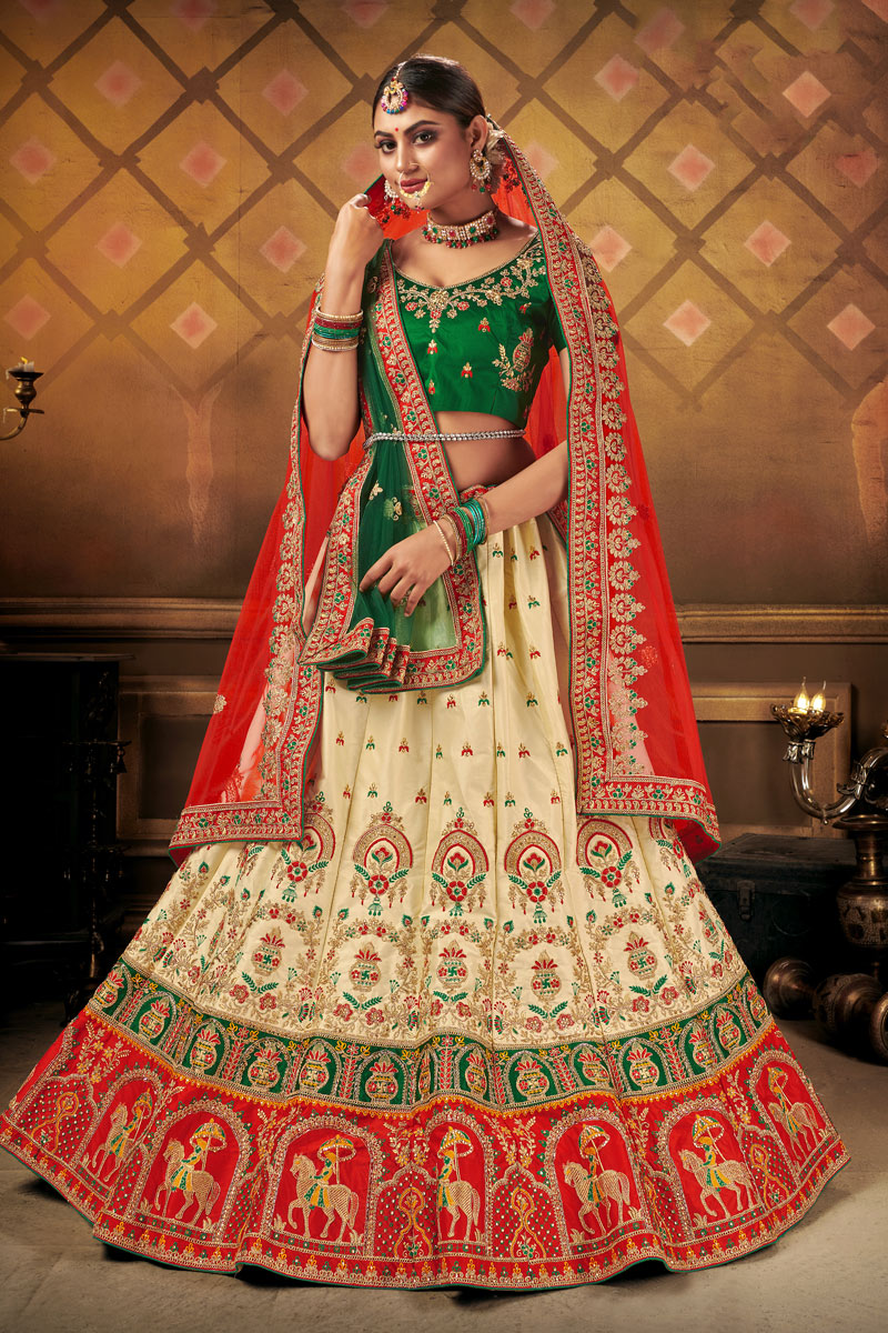 Cream Color Satin Fabric Reception Wear Lehenga Choli