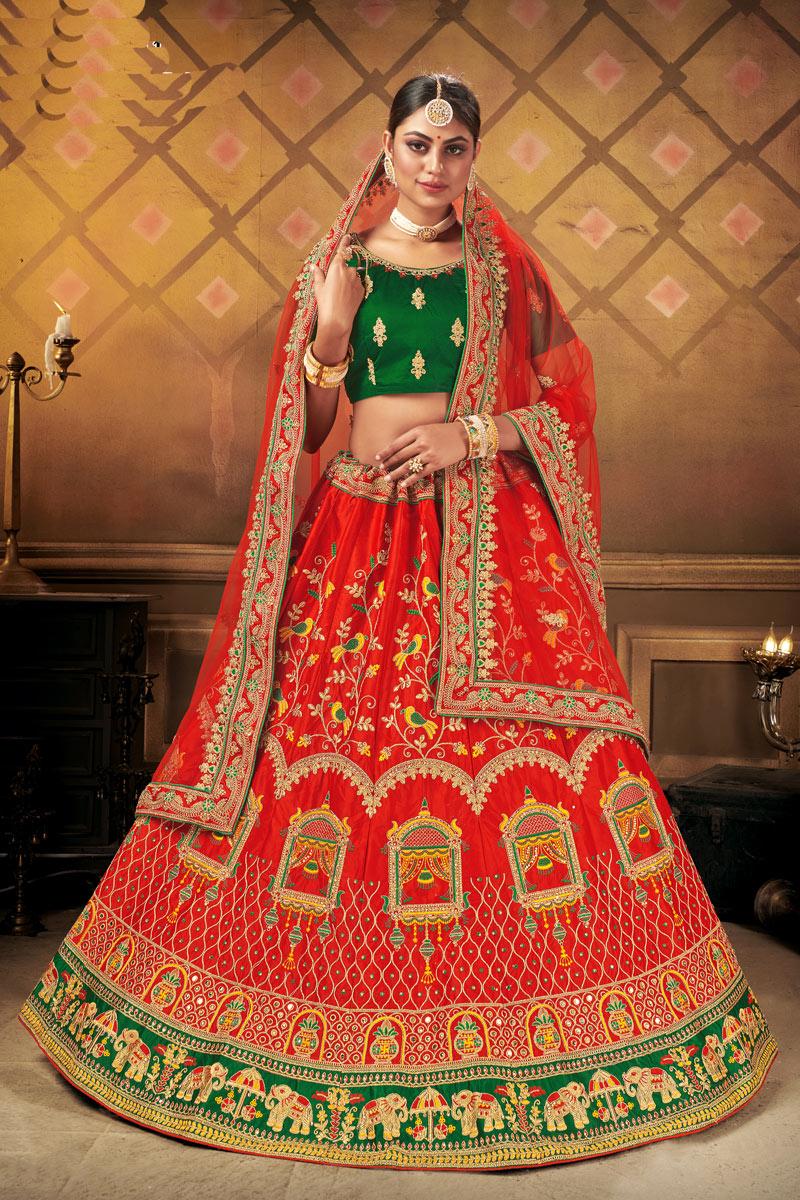 Satin Fabric Red Color Wedding Wear 3 Piece Lehenga Choli