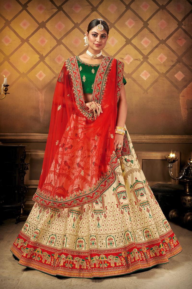 Cream Color Designer Wedding Lehenga
