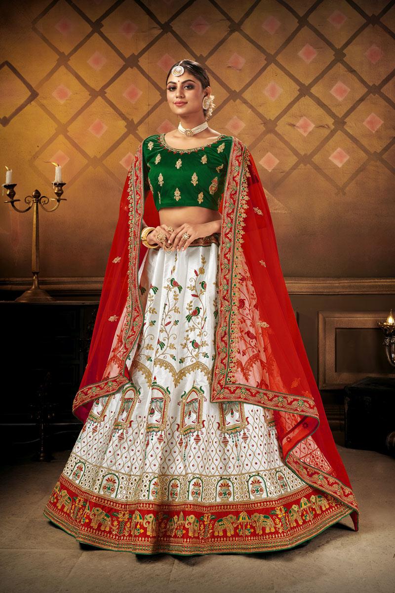 White Color Satin Fabric Reception Wear Lehenga Choli
