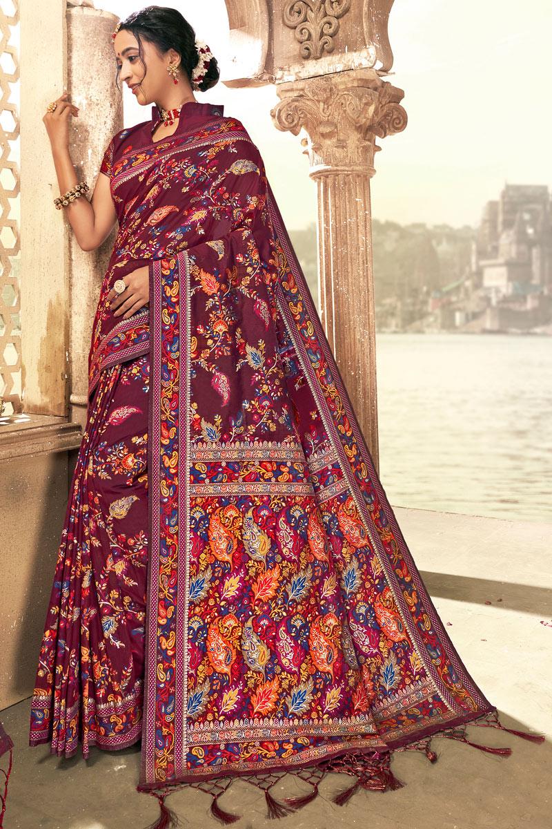 Silk Fabric Sangeet Wear Burgundy Color Printed Saree
