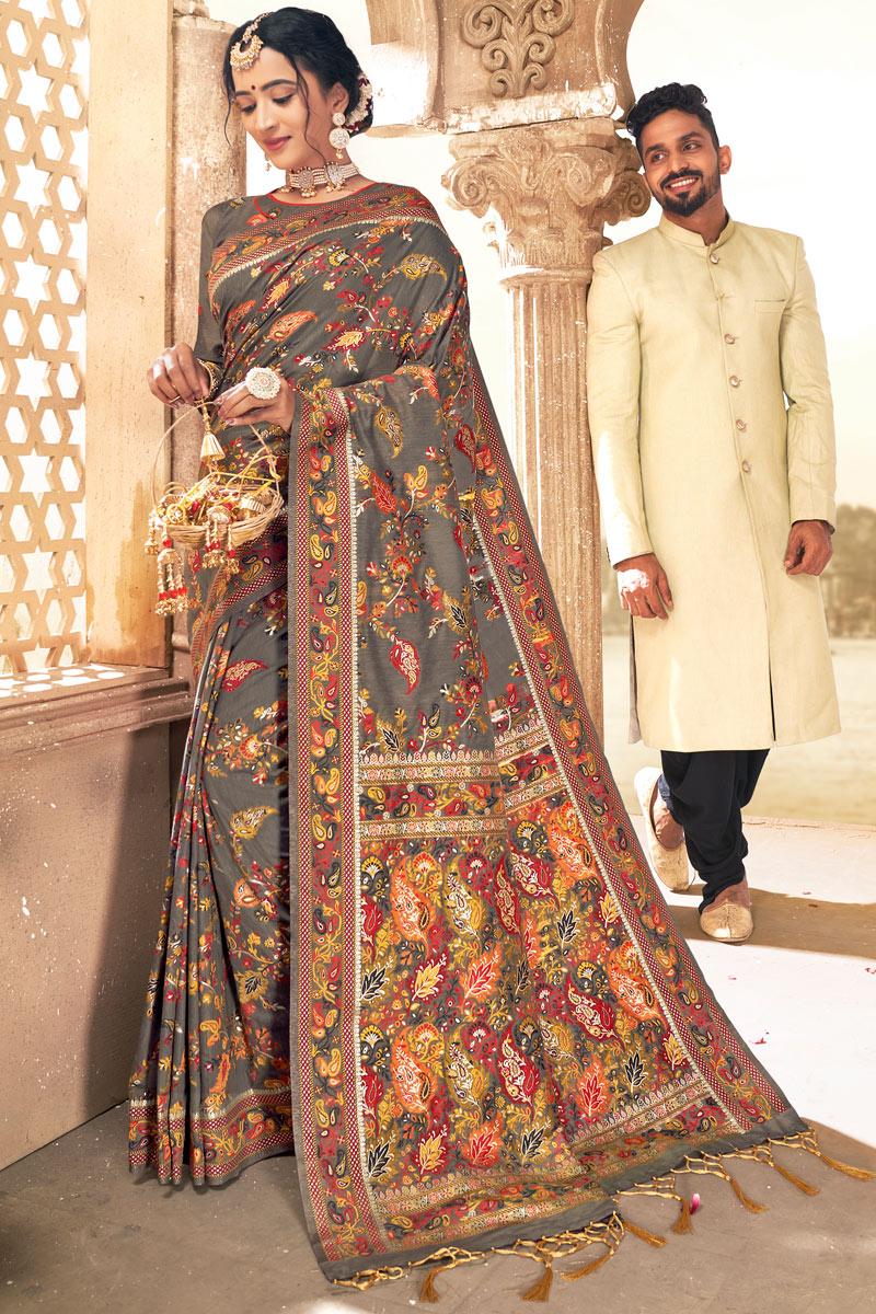 Grey Color Sangeet Wear Silk Fabric Printed Saree