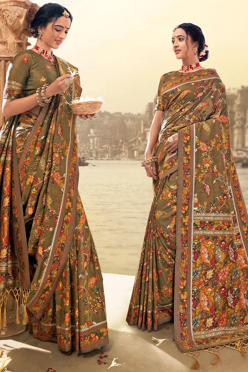 Sangeet Wear Light Brown Color Silk Fabric Printed Saree
