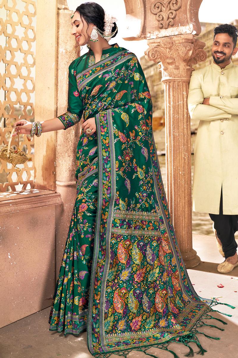 Sangeet Wear Silk Fabric Printed Saree In Dark Green Color