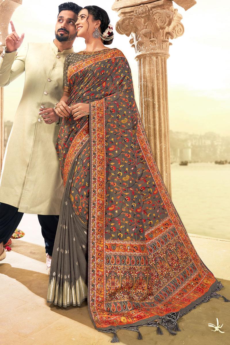 Silk Fabric Grey Color Designer Saree