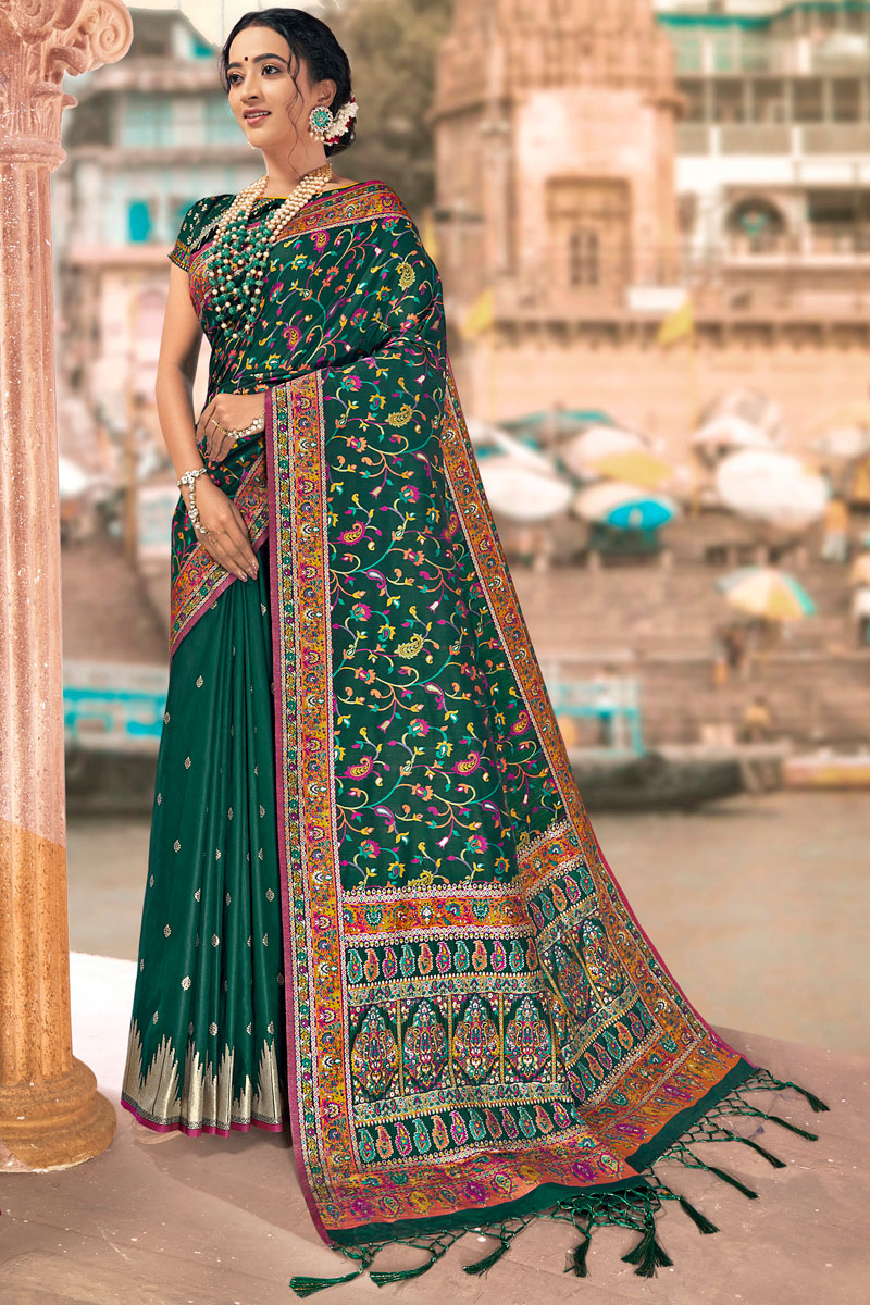 Teal Color Traditional Saree In Silk Fabric