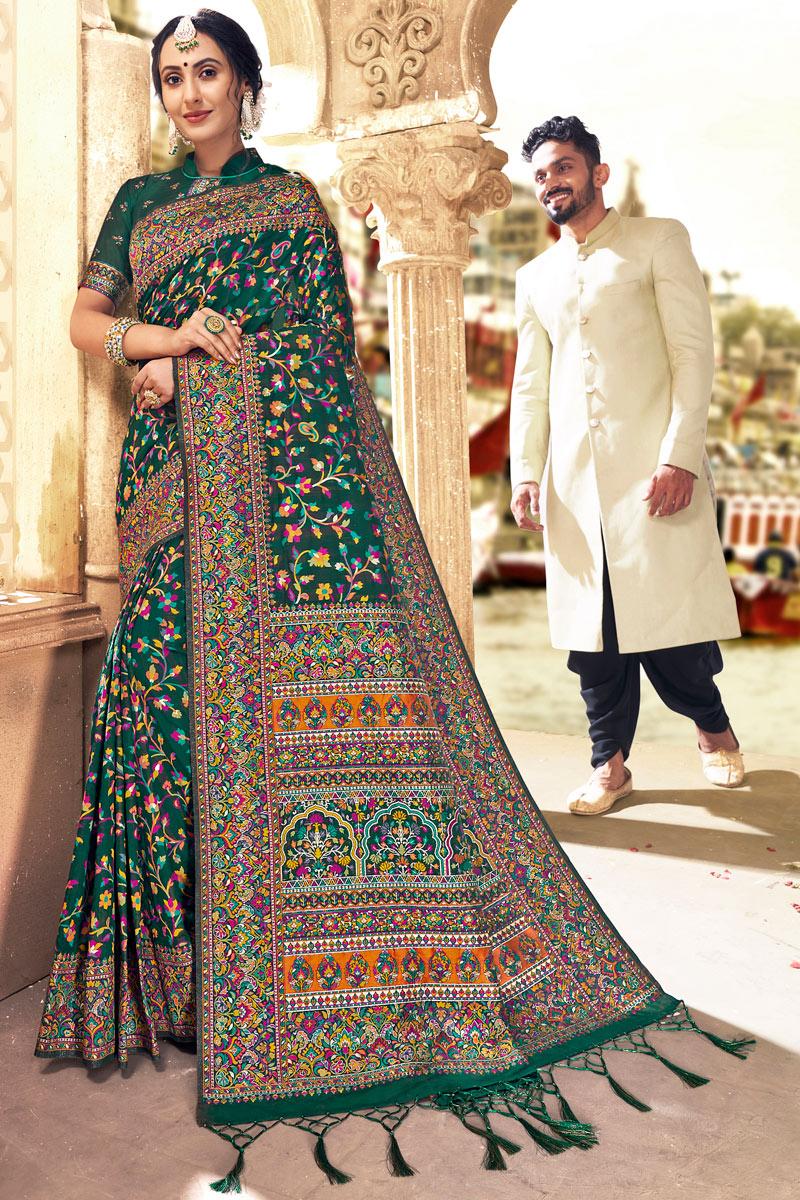 Dark Green Color Party Wear Saree In Silk Fabric