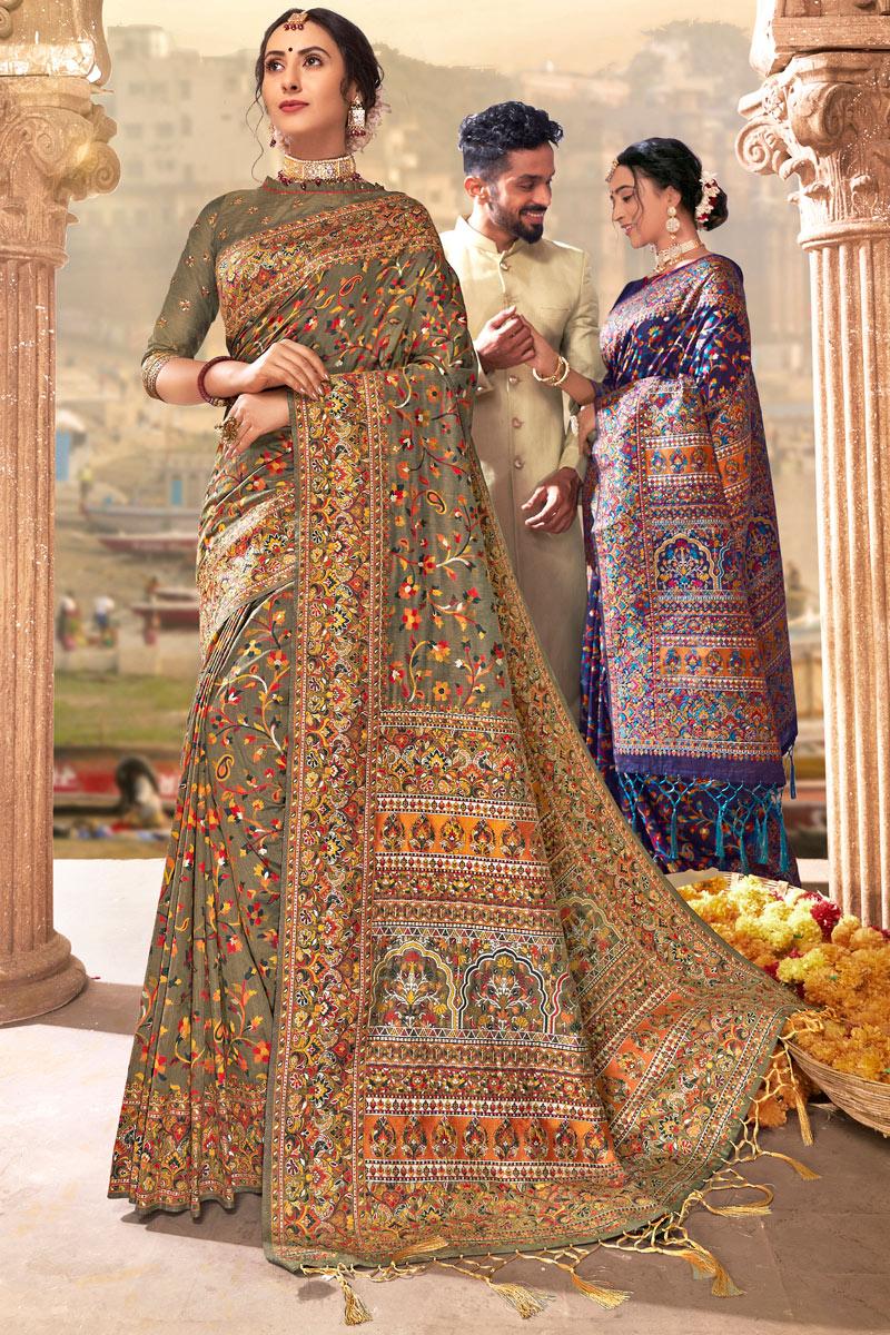 Silk Fabric Designer Saree In Dark Beige Color