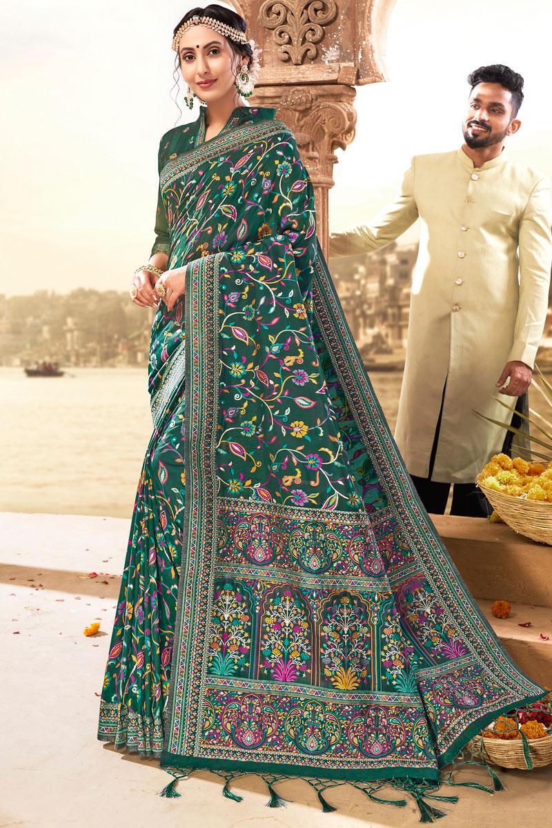 Teal Color Silk Fabric Saree For Mehendi Ceremony