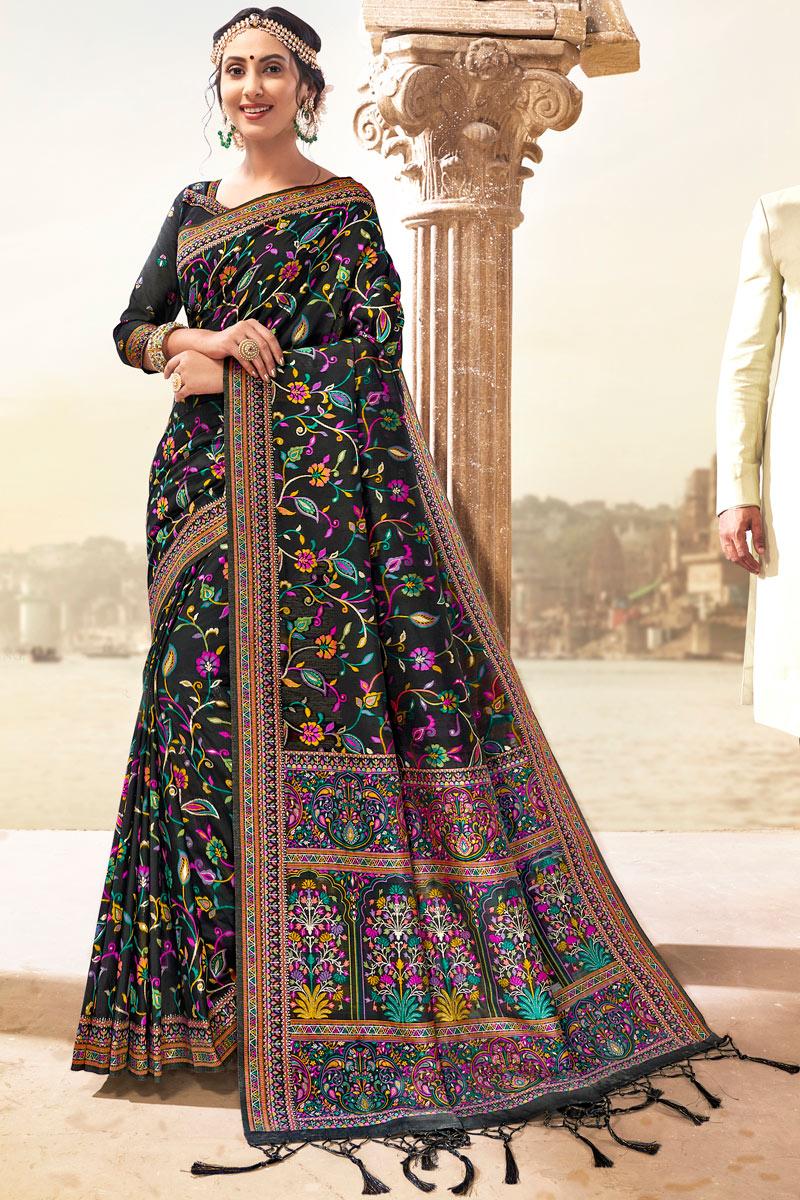 Black Color Silk Fabric Party Wear Saree