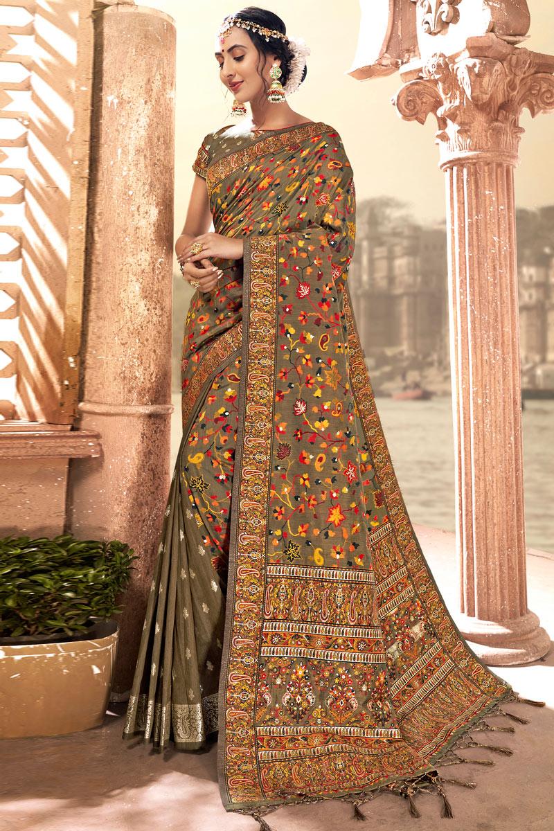Light Brown Color Silk Fabric Function Wear Saree
