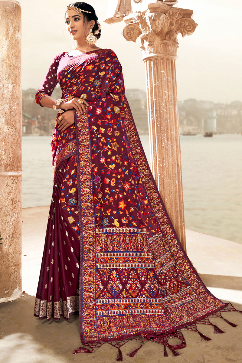 Silk Fabric Maroon Color Saree For Wedding Function