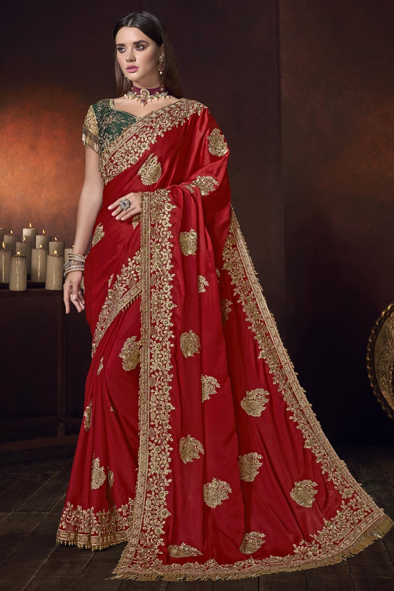 Mesmerizing Wedding Wear Satin Fabric Embroidered Saree In Red Color