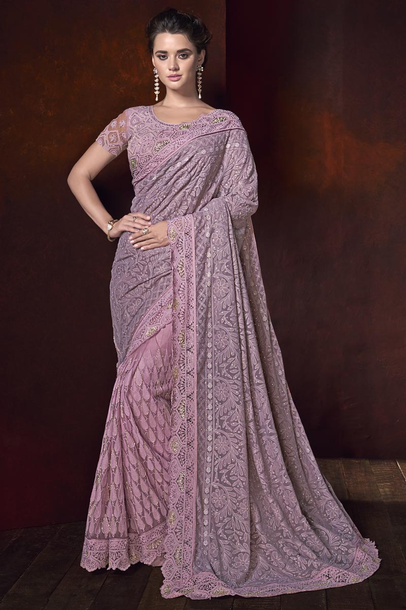 Wedding Wear Fancy Fabric Pink Color Designer Saree With Embroidery Work
