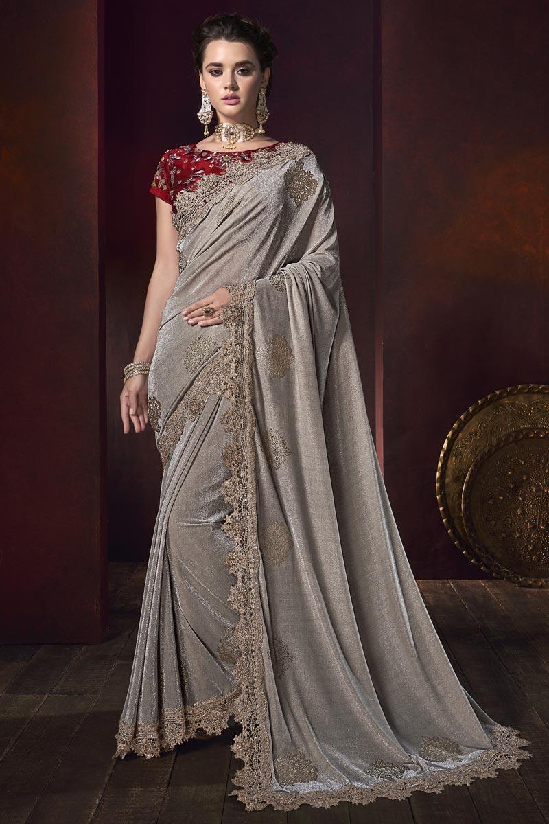 Mesmerizing Wedding Wear Fancy Fabric Dark Beige Embroidered Saree