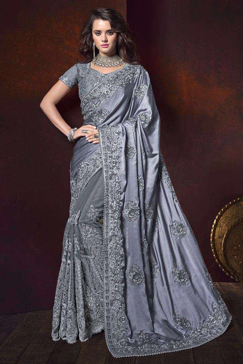 Embroidered Saree In Satin Fabric Grey Color With Designer Blouse