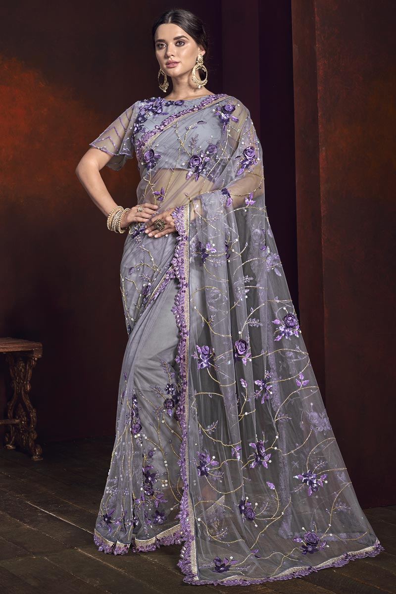 Mesmerizing Wedding Wear Lavender Color Net Fabric Embroidered Saree