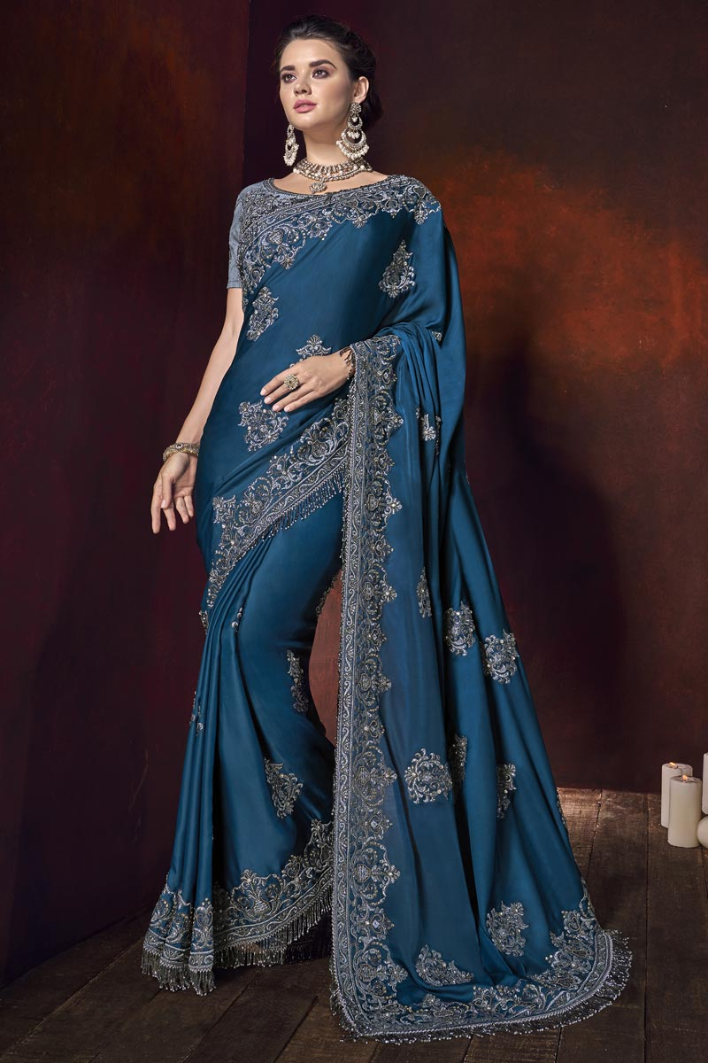 Navy Blue Color Wedding Wear Satin Fabric Designer Saree With Embroidery Work