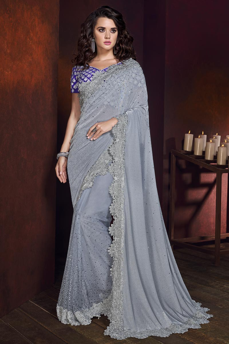 Grey Color Wedding Wear Fancy Fabric Embroidered Saree