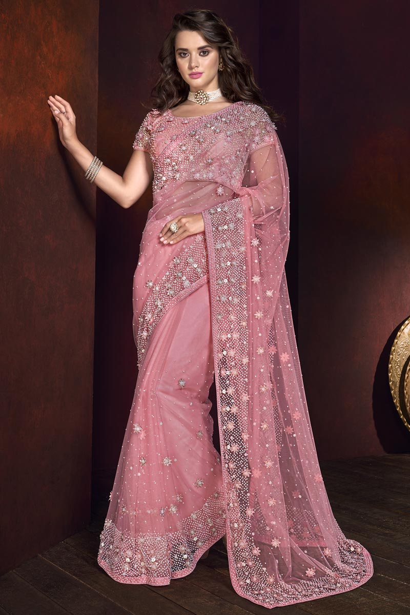 Net Fabric Embroidered Saree In Pink Color With Designer Blouse