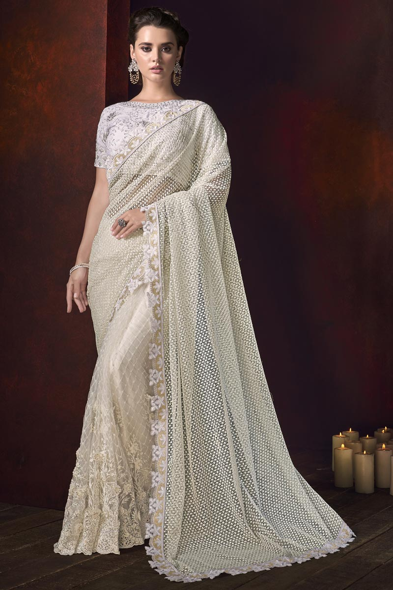 Embroidered Designs Off White Color Saree In Net Fabric With Fancy Blouse