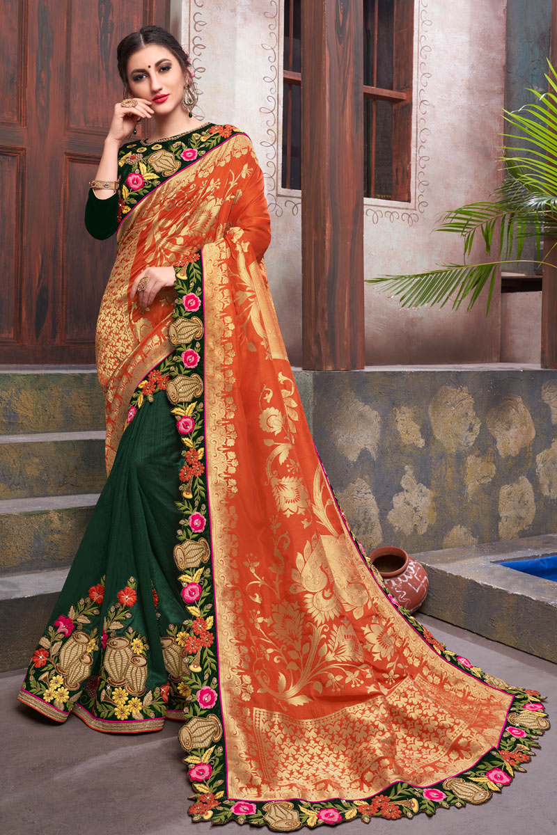 Incredible Embroidery Work On Dark Green Color Fancy Fabric Party Wear Saree