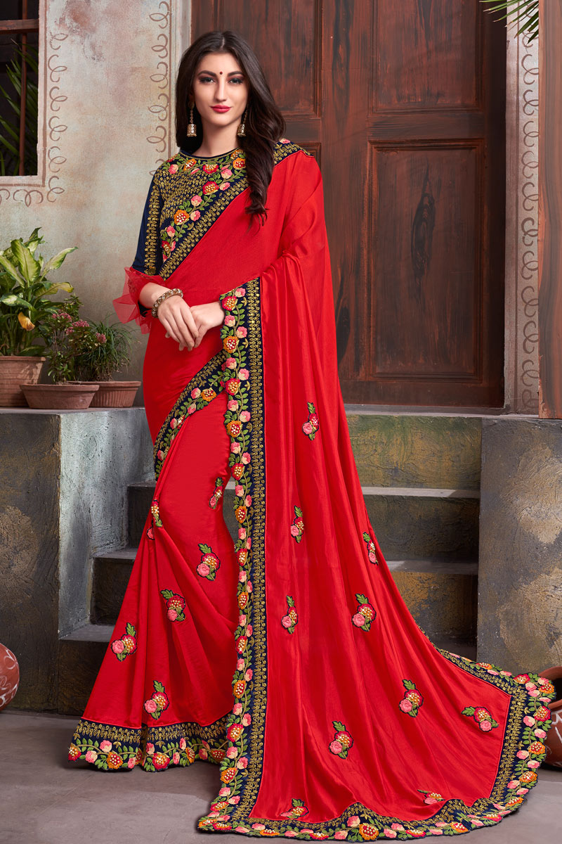 Tempting Red Color Fancy Fabric Function Wear Saree With Embroidery Work