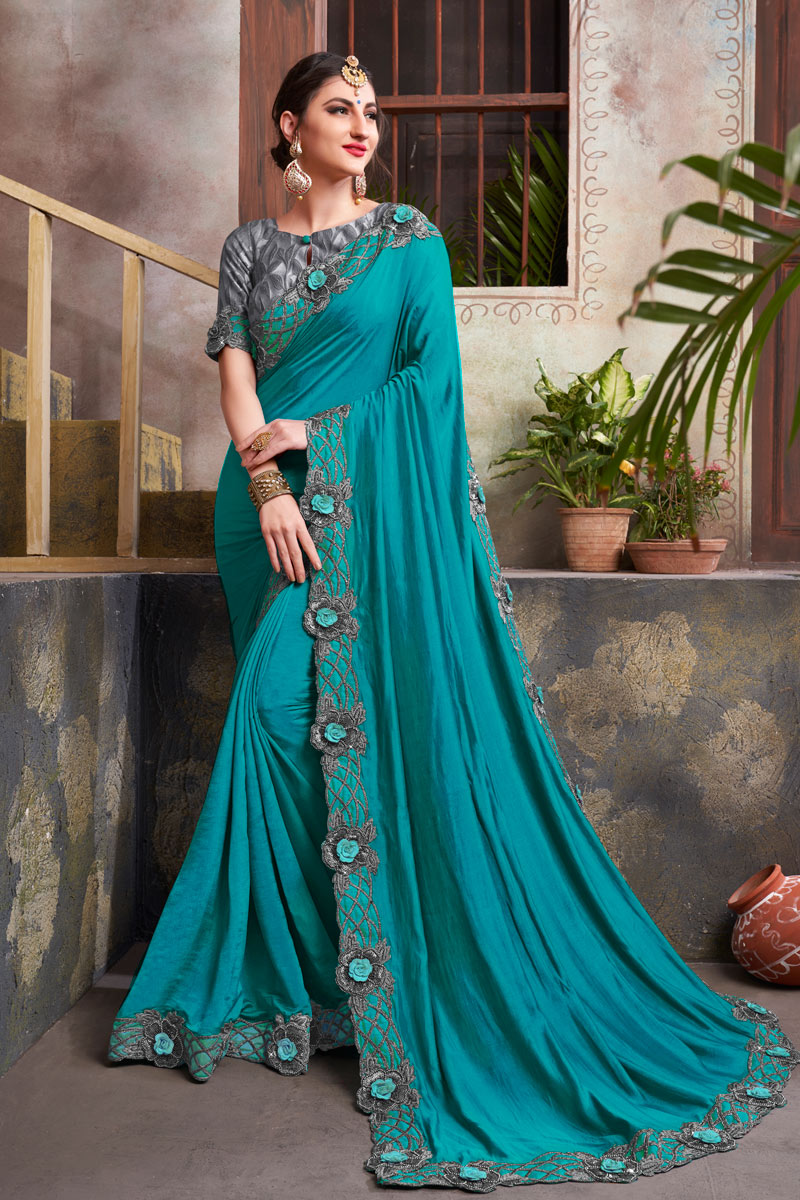 Engaging Fancy Fabric Sky Blue Color Designer Saree With Embroidery Work