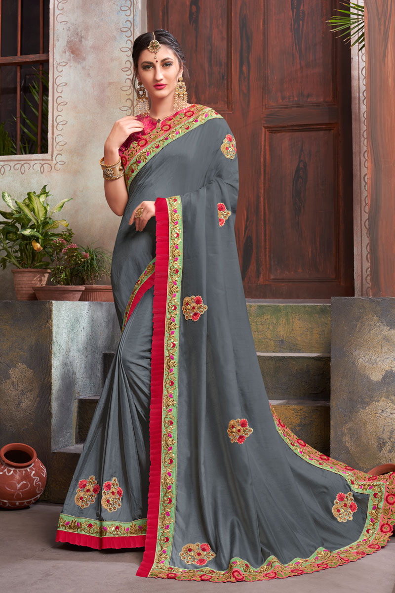 Grey Color Fancy Fabric Festive Wear Saree With Winsome Embroidery Work