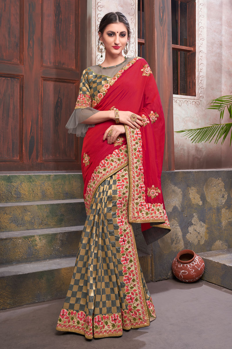 Creative Embroidery Work On Designer Saree In Fancy Fabric Grey Color