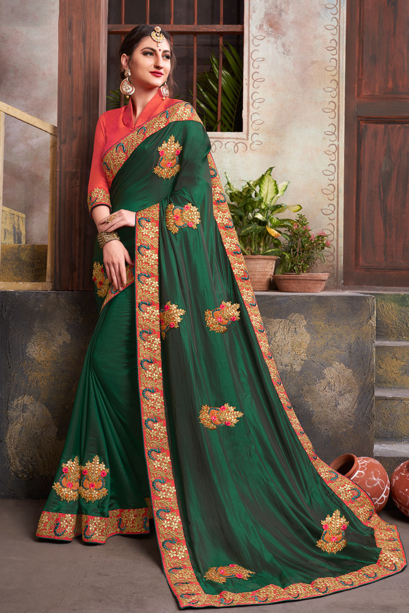 Marvelous Embroidery Work On Dark Green Color Party Wear Saree In Fancy Fabric