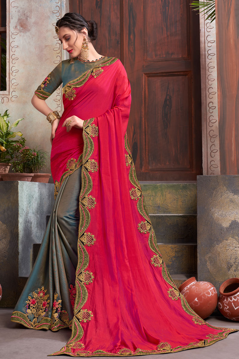 Embroidered Wedding Wear Saree In Fancy Fabric Grey Color With Attractive Blouse