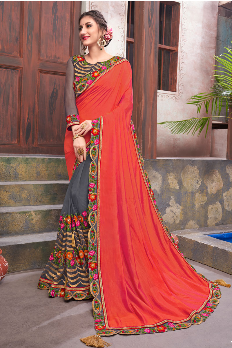 Embroidery Work On Fancy Fabric Designer Saree In Grey Color With Designer Blouse