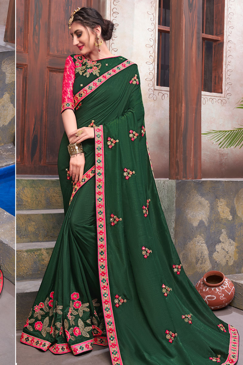 Dark Green Color Saree In Fancy Fabric With Embroidery Work And Party Wear Blouse