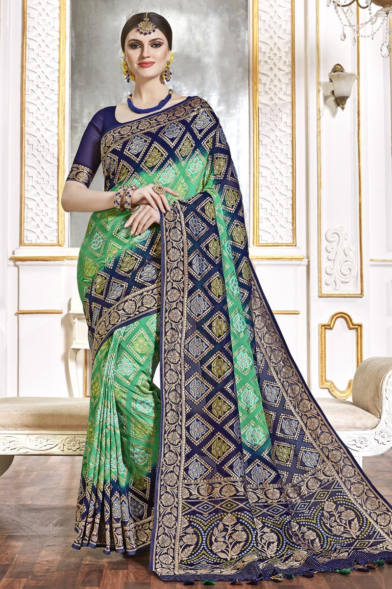 Trendy Function Wear Sea Green Color Weaving Work Saree In Viscose Fabric