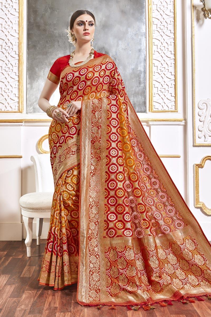 Function Wear Orange Color Trendy Viscose Fabric Weaving Work Saree