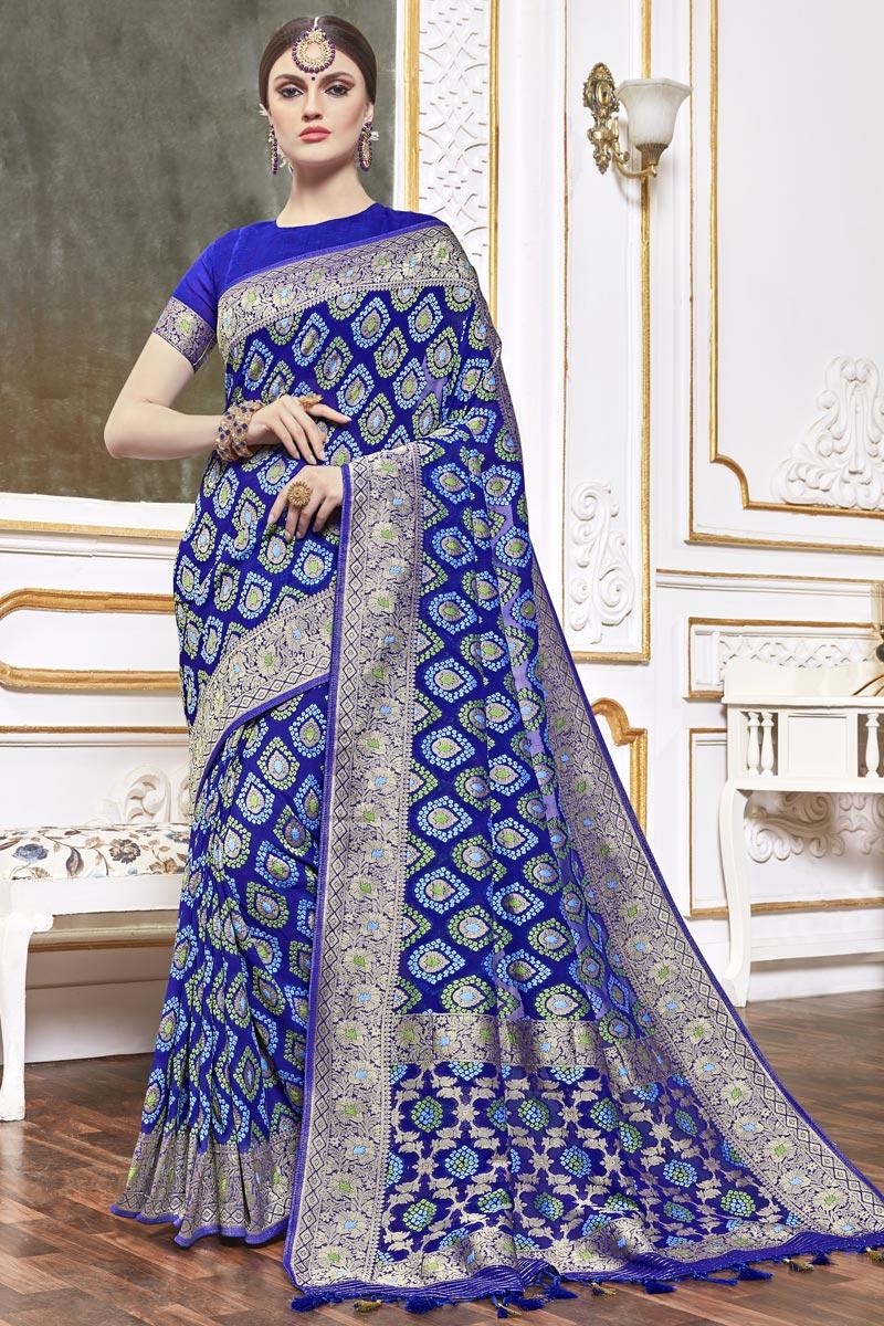 Trendy Viscose Fabric Function Wear Blue Color Weaving Work Saree