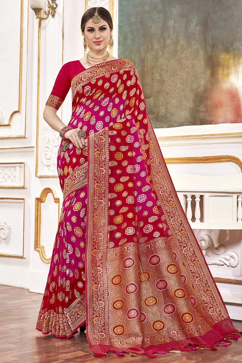 Function Wear Viscose Fabric Trendy Weaving Work Saree In Rani Color