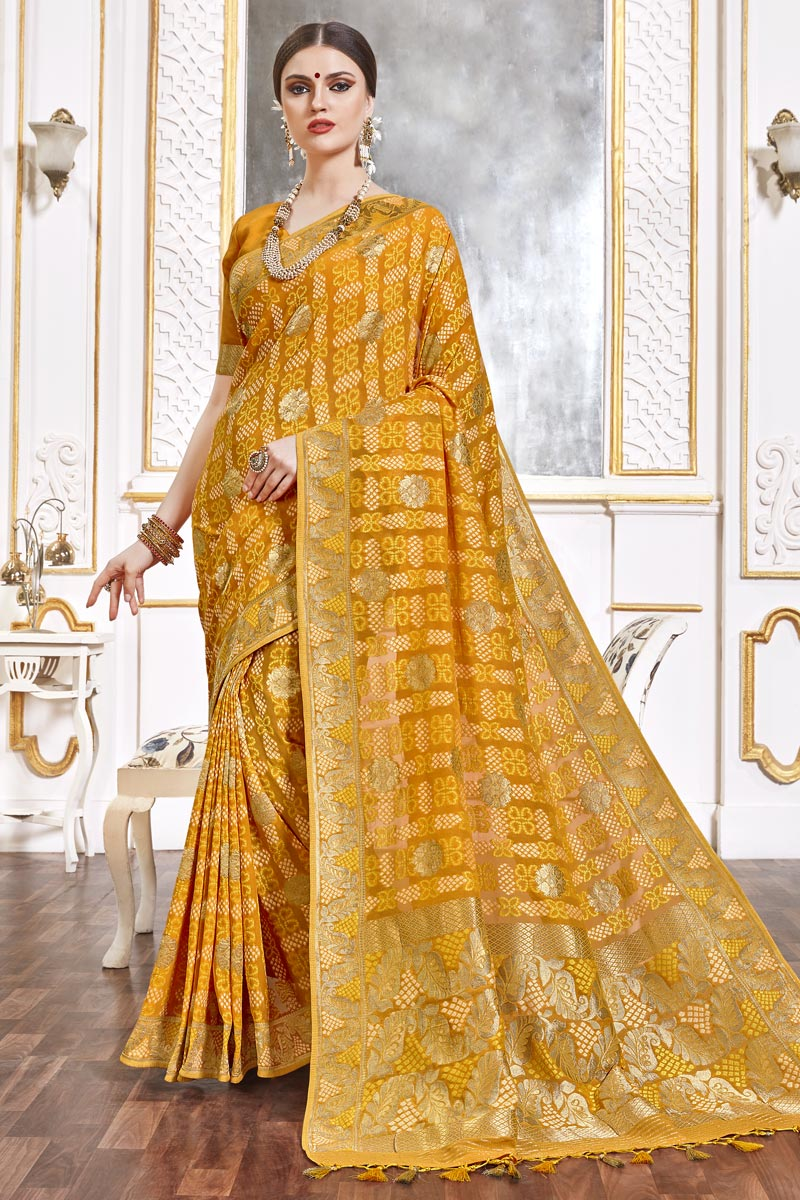 Yellow Color Trendy Function Wear Viscose Fabric Weaving Work Saree