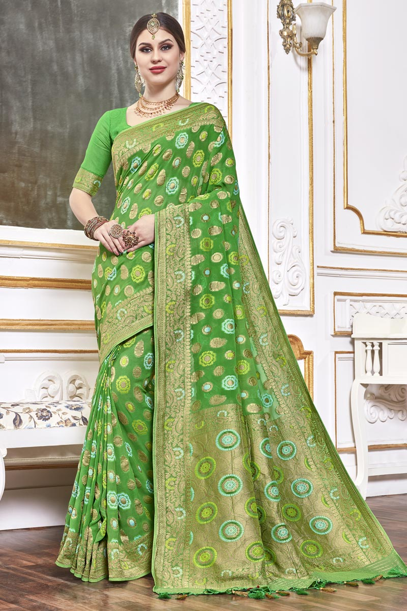 Green Color Trendy Function Wear Viscose Fabric Weaving Work Saree