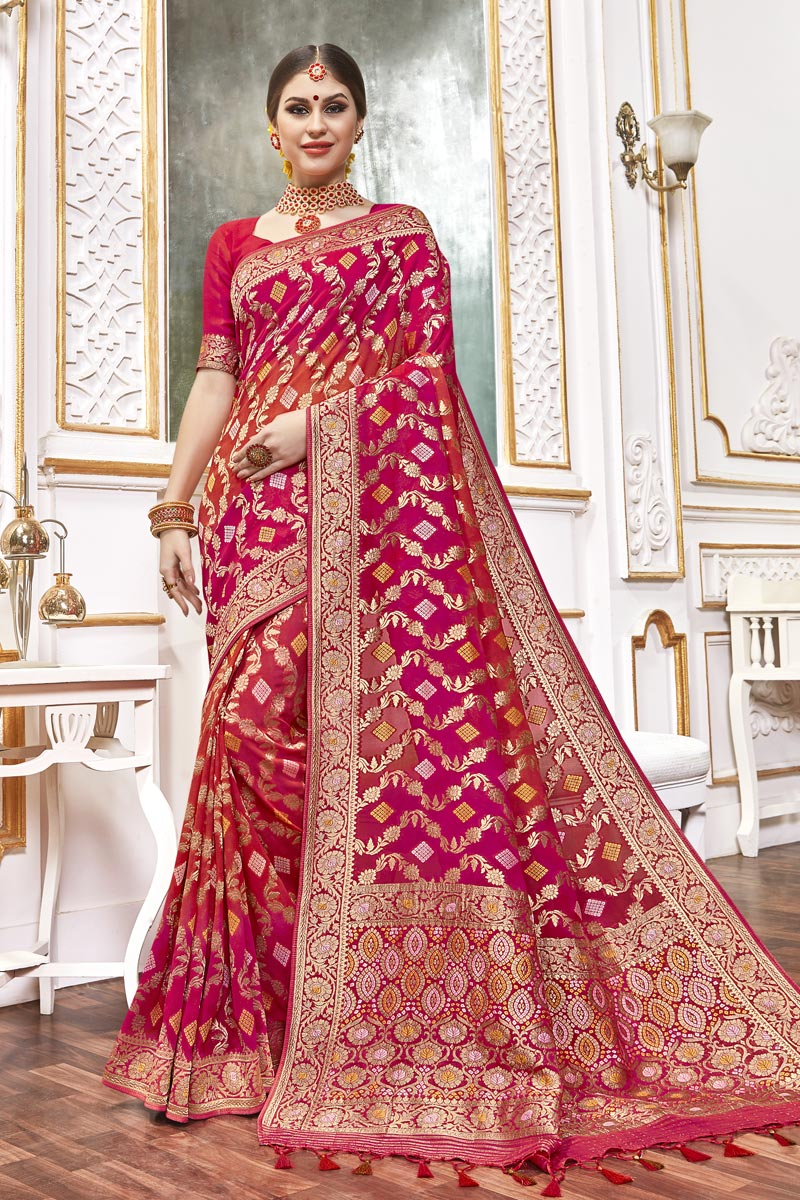 Function Wear Viscose Fabric Trendy Pink Color Weaving Work Saree