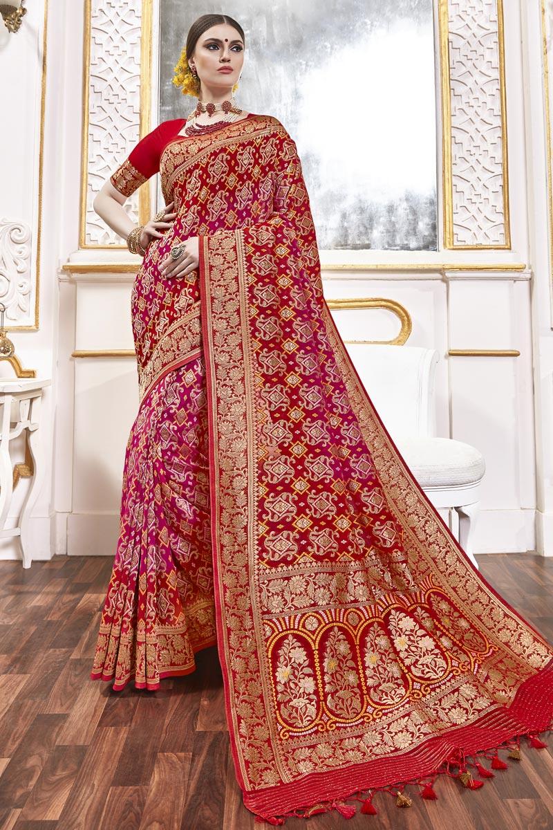 Function Wear Rani Color Trendy Weaving Work Saree In Viscose Fabric