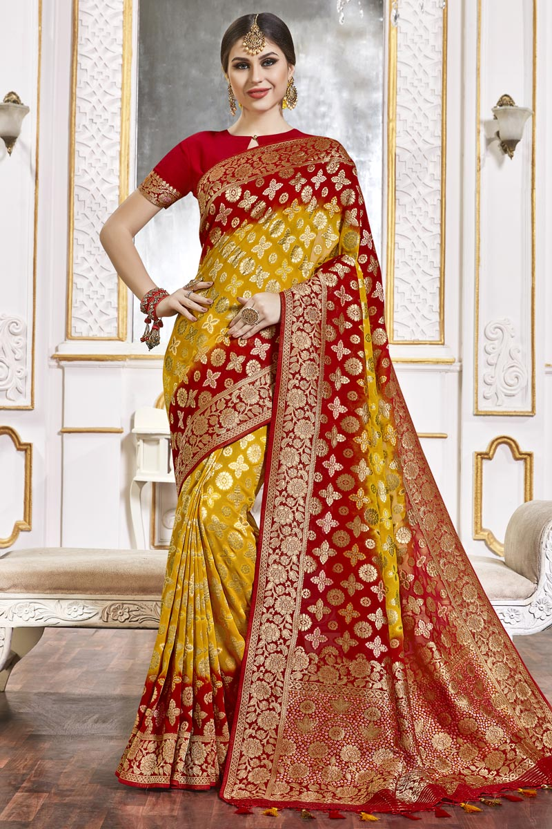 Trendy Yellow Color Function Wear Viscose Fabric Weaving Work Saree